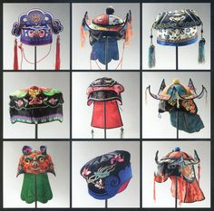 Chinese children's hats, 19th & 20th C, seen at the Musée Guimet, Paris 2010#ChineseTextiles
