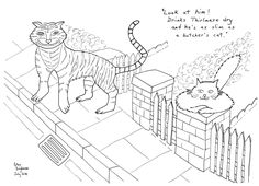 Tiger Tea Bullpuss #colouringInAsTherapy black n white monochrome - Digital Download .jpeg .jpg by MrSquimpsCatShop on Etsy