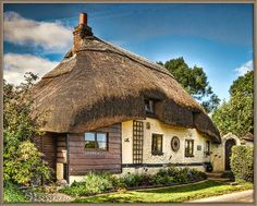 Thatched cottage in the village of Longstock in Hampshire