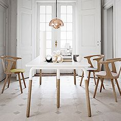 Tretton White Rectangle Dining Table With Solid Oak Legs & 6X Stunning Scandinavian Dining Room Sets Design Ideas