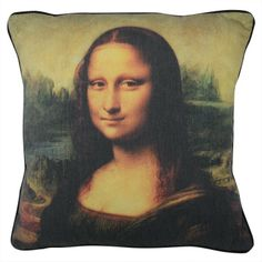 CUSHI   Mona Lisa Cushion #pillow #cushion #homedecor Sofa Cushion Covers, Cushions On Sofa, Cushion Pillow, Pillows, Antique Pictures, Black Pipe, Last Supper, John The Baptist, Decorative Cushions