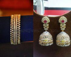 Jewellery Designs: Diamond Bangle and Jhumkas Diamond Jhumkas, Diamond Bangle, Silver Bangle Bracelets, Gold Bangles, Diamond Jewelry, Diamond Studs, Diamond Necklaces, Gold Jewelry, Diamond Earrings