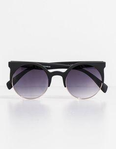 Pull Bear - mujer - gafas de sol - gafa redondeada negra - negro - 05898319- 09a6a3e766e8
