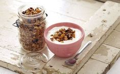 Homemade Granola with Wheat Germ (although I'd reduce the amount of oil & use other nuts & dried apricots) How To Make Granola, Making Granola, Healthy Snacks For Kids, Healthy Eating, Dried Cherries, Dried Apricots, Vegan Granola, Dog Food Recipes, Healthy Recipes