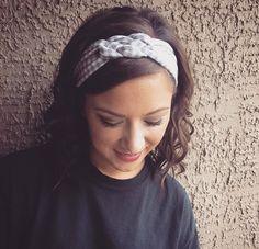"The Grey & White  ""Braided Boho"" soft knit headband, head wrap by HeadbandsbyHeadHugs on Etsy"