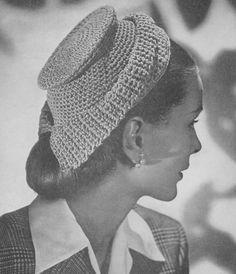 Vintage 1940's hat and bag set crochet pattern