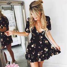 797ae6c5202  Women Mini Boho Floral Dress Summer Beach Short Sleeve V neck Evening  Party bohemian beach