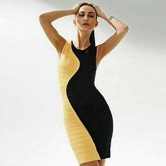Limited Edition Yellow & Black Bandage Dress This is a red carpet fav and has limited stock. Great for date night, cocktail parties, or corporate events.   The M will fit size 6-8 comfortably. I am wearing the one in pic#4. I only worn it once for a friends grand opening event, so it is still in great condition.   The main difference in the stock photos is the yellow side of the dress is not textured, it is smooth bandage material.   The Fabric of Celebrities: 100% Authentic Bandage Material…