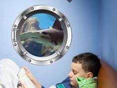 Porthole Vinyl Wall Decal  Hammerhead Shark by WallJems on Etsy.