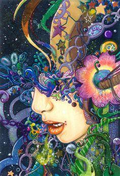 """The Method"" - Didi Hikaru9u9, watercolor, markers, ink {fantasy art female head profile woman portrait mixed media illustration} Hikaru9u9.deviantart.com"