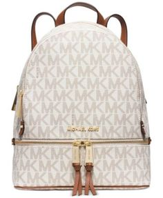 MICHAEL Michael Kors Rhea Zip Medium Backpack $298.00 Tuck your tablet, notebook and other travel essentials into this chicly organized backpack from MICHAEL Michael Kors, finished in signature PVC for a splash of must-have designer style.