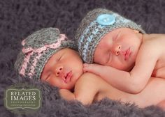Twin Baby Boy Girl Hats in Grey Pink and Blue Stripes,  Newborn Twin Girl Boy Photo Prop Set, Custom Made to Order via Etsy