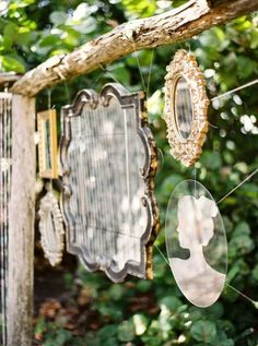 Better than a gazing ball! why didn't I  think of this?!!!  Mirrors! BEHIND my flowers! Wonderful Shabby chic mirror garden art!
