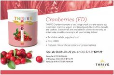 Thrive added Cranberries just in time for Fall baking & Thanksgiving! | EasyFoodStorage.net