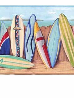 Wallpaper Border Tropical Surf Signs on Red