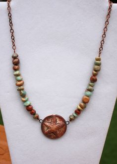 Impression Jasper and Copper Chain Necklace with Artisan Handmade Porcelain Starfish Pendant by ChelestersCreations on Etsy