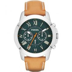 Fossil Grant Mens Chronograph Watch - from WatchWarehouse Fossil Watches For Men, Gents Watches, Watches Online, Casio Watch, Tan Leather, Stuff To Buy, Guy Stuff, Accessories, Xmas