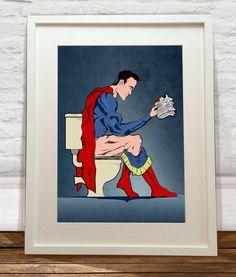 Superhero On Toilet Art Print by wyatt9 on Etsy, £13.00