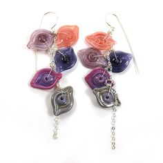 Sterling Silver Earrings  Lampwork Earrings  Glass by SariGlassman, $78.00