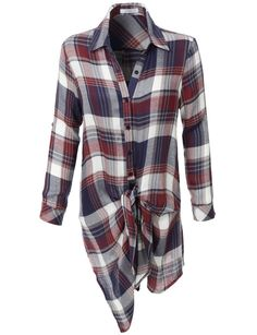 LE3NO Womens Lightweight Long Sleeve Tie Front Plaid Tunic Shirt