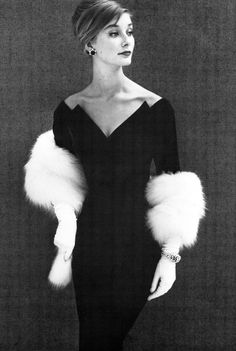 Tania Mallet, photo by John French, 1960 ~ Loove the neckline of this dress ~ the question is: the white fur: is it part of the dress or the gloves? It's a stole. A beautiful photo ~                                                                                                                                                      More