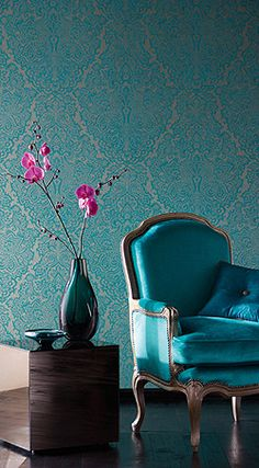 Buy Harlequin Wallpaper, Venezia Turquoise / Gilver from our Wallpaper range at John Lewis & Partners. Harlequin Wallpaper, Damask Wallpaper, Turquoise Wallpaper, Hallway Wallpaper, Chic Wallpaper, Bedroom Wallpaper, Damask Decor, Color Inspiration, Sweet Home