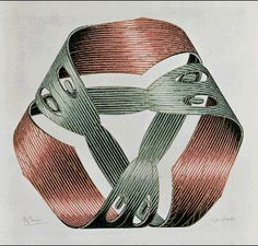 M.C. Escher – Möbius Strip I 1961 Wood engraving and woodcut in red, green, gold and black, printed from 4 blocks.