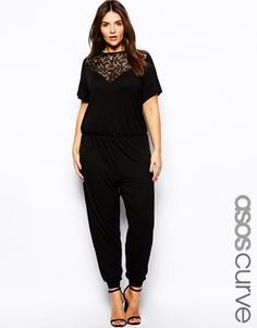 ASOS CURVE Exclusive Jumpsuit With Lace Insert  Cute but needs tailoring..