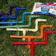 Homemade marshmallow shooters - you know this will happen in our house. #marshmallow shooter guns