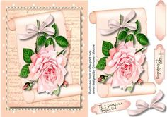 Lovely Pink rose on a scroll  on Craftsuprint designed by Ceredwyn Macrae - A lovely card to make and give to anyone with a lovely pink rose on a scroll has two greeting tags and a blank one for you to choose the sentiment, - Now available for download!