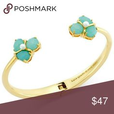 Kate Spade Disco Pansy Open Hinge Bracelet NWT Kate Spade Green Disco Pansy Open Hinge Bracelet NWT, Matching Crystals, Pearl Center, Shiny Gold Tone Metal, Cheerful Crystal Cluster Adds Whimsical Charm To This Flower Inspired Bangle Comes With Kate Spade Gift/Sleeper Bag kate spade Jewelry Bracelets