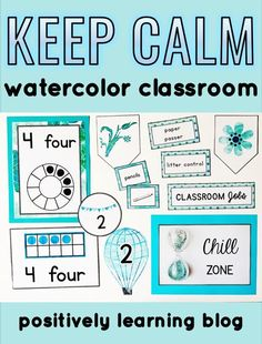 Keep Calm with this watercolor decor! There's so many functional visuals packed in that would work in the elementary classroom or resource room. From Positively Learning #watercolortheme #classroomdecor