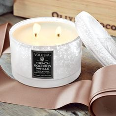 With a decadent richness, ground and distilled vanilla beans from Bourbon, France enhance this luscious fragrance. Poured into lustrous silver vermeil glass, candle burns approximately 60 hours in its 11 ounce lidded jar. Comes gift wrapped in a hand crafted wood crate with ribbon.