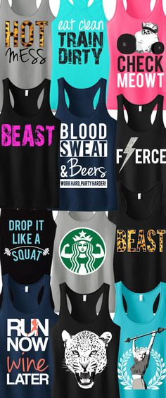 I WANT ALL OF THESE! Tons of Cool colorful #Workout Tank Tops by #NoBullWomanApparel. Pick Any 3 for only $63.95. Even more to choose from on Etsy. Look good while you #Train and click here to buy! https://www.etsy.com/listing/166153381/3-workout-fitness-tank-tops-15-off?ref=shop_home_feat_4