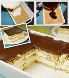 No-Bake Eclair Cake! - There's a little boiling though :)  Just layer Graham Crackers, Vanilla Pudding Mix, and top with the Chocolate.  Refrigerate overnight #nomnom