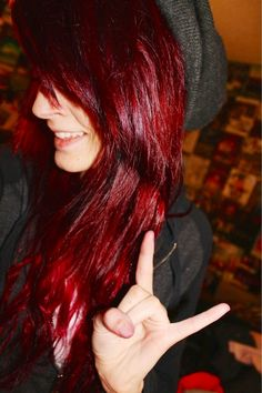 very pretty red colorful-hair