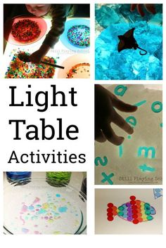 A vast collection of light table activities and ideas for kids! Great for preschool Creative Activities For Kids, Preschool Learning Activities, Play Based Learning, Creative Play, Hands On Activities, Sensory Activities, Educational Activities, Preschool Activities, Kids Learning
