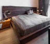 Кровать BudkinS - двуспальная кровать из массива дерева и подсветки