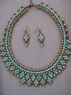 NEW Blue Turquoise GemDuo Beaded Necklace Set