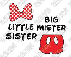 Mickey and Minnie Mouse Big Mister Little Sister Cut File Set in SVG, EPS, DXF, JPEG, and PNG
