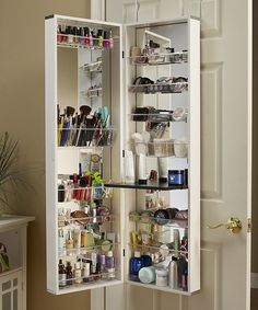 Over the door cosmetic storage. Great for small spaces!