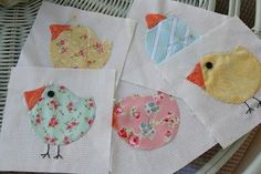 Chicks quilt blocks.  These would be so cute on dishtowels or any kitchen item.