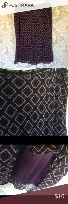 "Purple & Black Skirt Purple & Black Lined Skirt 28"" Long. Size 22/24 Elastic back waist Venezia Skirts Midi"