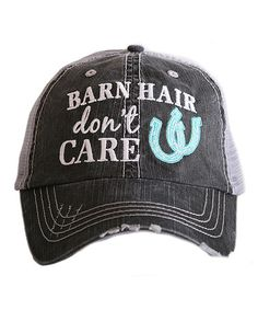 ea8ebc8eb93 Katydid Barn Hair Don t Care Hat designed by Katydid trucker caps are  embroidered and have curved bill distressed cap gives it a worn look  adjustable tab ...