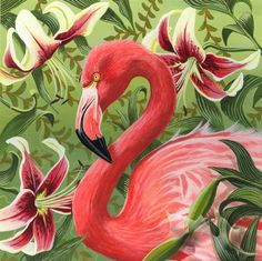 Flamingo with Lilies by blackleafstudio on Etsy,