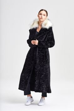 Coat Ava Persian Black + Raccoon White Fake Fur, Ava, Persian, Fur Coat, Street Style, Jackets, Black, Women, Fashion