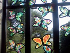 Butterfly sun-catchers-fun window decorations for the classroom, contact paper and tissue paper!