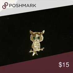 Pretty Owl Gold tone owl brooch with emerald green eyes sitting on a branch. It's about 2 I inches. Jewelry Brooches