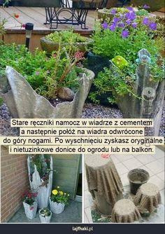 Cementowe donice - Stare ręczniki namocz w wiadrze z cementem a następnie połóż na wiadra odwrócone  do góry nogami. Po wyschnięciu zyskasz oryginalne i nietuzinkowe donice do ogrodu lub na balkon.