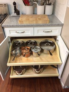 My pots and pans organized and easy to reach.